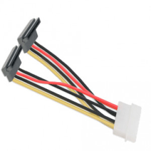 Syba Molex 4-pin to Two 15-Pin SATA HD Power Y-Cable, Model: SY-CAB40047