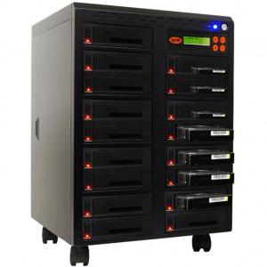 Black Systor 1 to 16 SATA 2.5in and 3.5in Dual Port/Hot Swap Hard Disk Drive (HDD/SSD) Duplicator/Sanitizer