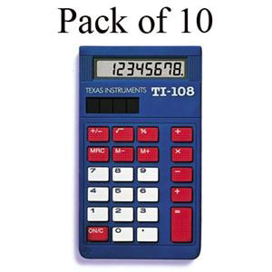 Texas Instruments TI-108 Elementary Calculator TI108TK, Teacher Pack - 10 Units