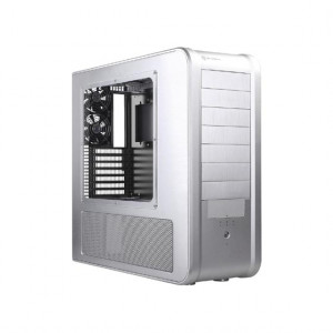Silver SilverStone Aluminum ATX Full Tower Computer Case TJ07S-W, w/ Side Window and 120mm Fans.
