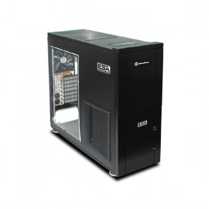Black SilverStone ESA Certified Aluminum ATX Full Tower Computer Case TJ10B-WESA, w/ Side Window and 120mm Fans.