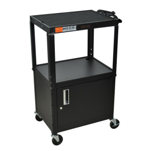 Black H.Wilson W42ACE Metal Open Shelf Utility Cart, 3-outlet Electric, w/ Locking Security Cabinet.