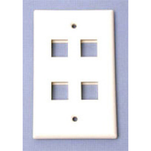 4-Port Wall Plate,  Color:  White