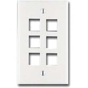 6-Port  Wall Plate , Color: White