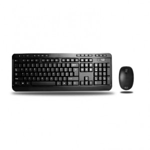 Adesso 2.4GHz Wireless Desktop Keyboard and Mouse Combo, 14 Hotkeys, Quiet Membrane Key Switches, 1000 DPI Optical Sensor, Model: WKB-1300UB.