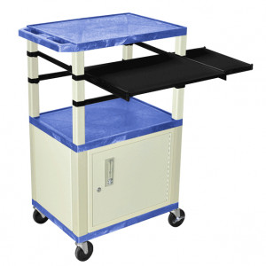Blue H.Wilson 42in Tuffy Presentation Cart with Cabinet, Keyboard Shelf and Side Pullout Shelf, Mode