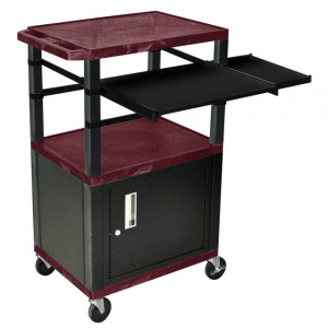 Burgundy H.Wilson 42in Tuffy Presentation Cart with Cabinet, Keyboard Shelf and Side Pullout Shelf,
