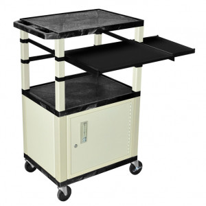 Black H.Wilson 42in Tuffy Presentation Cart with Cabinet, Keyboard Shelf and Side Pullout Shelf, Mod