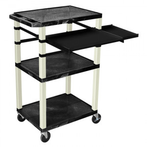 Black H.Wilson 42in Tuffy Presentation Cart without Cabinet, Keyboard Shelf and Side Pullout Shelf,