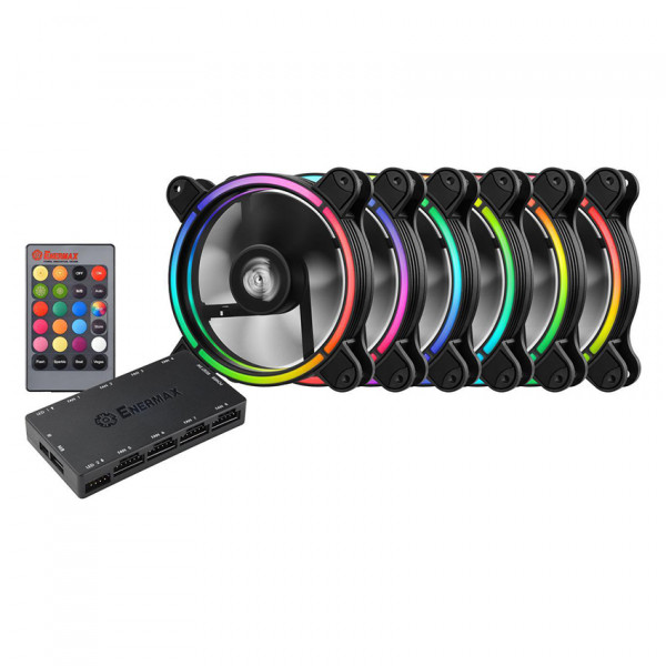 Enermax UCTBRGB12-BP6 T.B RGB 120mm Case Fan with 3 in 1 Remote Controller and Control Box