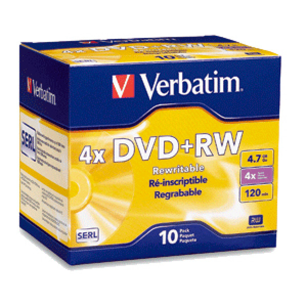 Verbatim 94839 4.7GB 4X DVD+RW Media 10 Packs Jewel Case