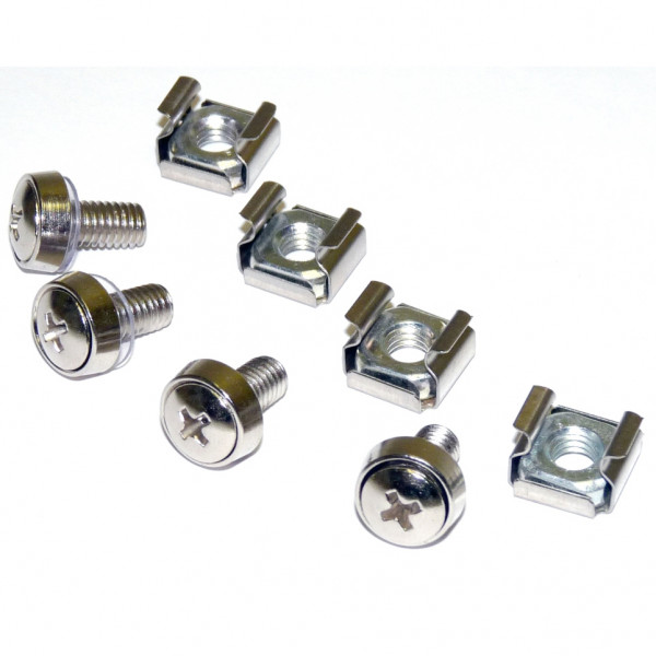 4 Pkg M6 Mounting Screws And Cage Nuts For Server Rack