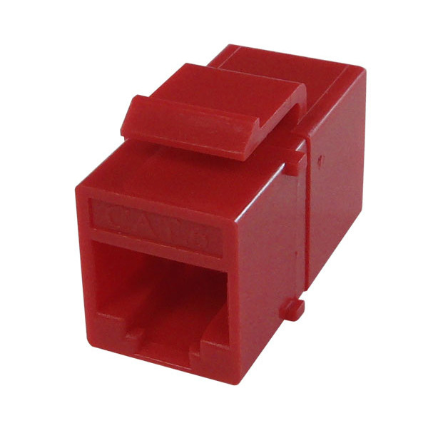 Primus Cable K65-4184-CJ-RD CAT6 Inline Coupler, Unshielded, Snap-In w/Latch, Red
