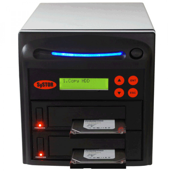 Black Systor 1 to 1 SATA 2.5in and 3.5in Dual Port/Hot Swap Hard Disk Drive (HDD/SSD) Duplicator/Sanitizer